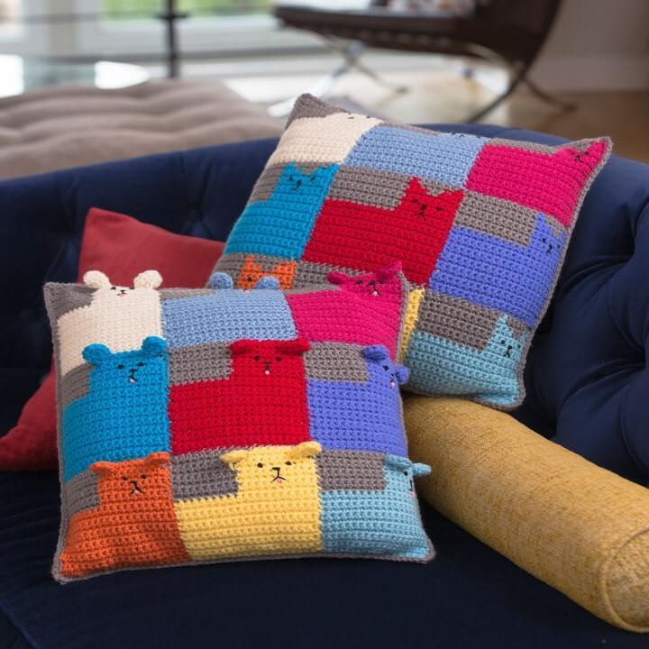 Вязаные подушки «Котята» и «Щенки»