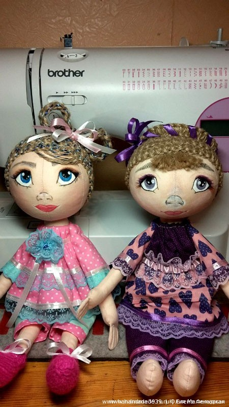 Шитые куклы тыквоголовки Ариша и Агата