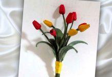 МК Букет тюльпанов из кожи