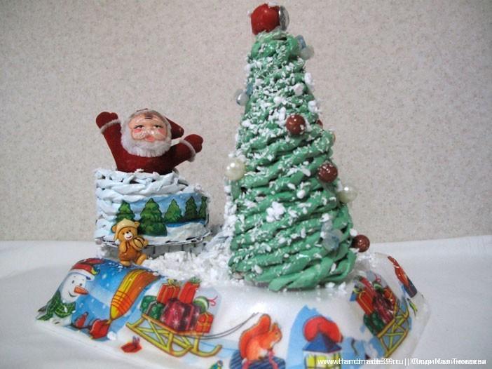 Плетение из газет: МК «Ёлочка и сани Деда Мороза»