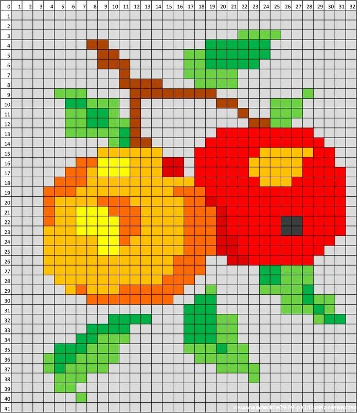 Я нарисовала ветку с двумя яблоками.