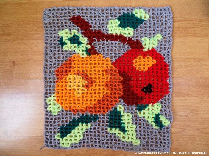 """Подушка """"Яблоки"""" - объёмное вязание - мастер-класс"""