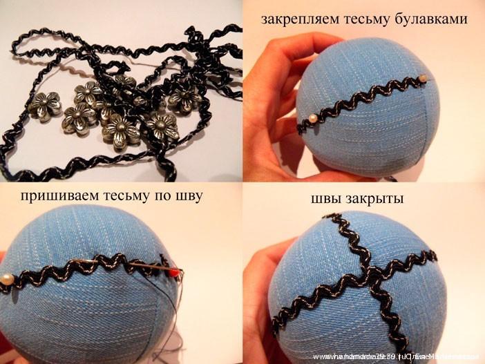 "МК Шитые новогодние шары - шар ""Полярные цветы"""