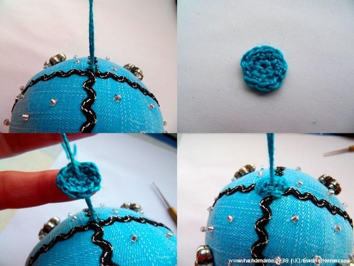 МК Шитые новогодние шары - Оформляем верх шарика.