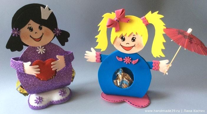 МК Фоамиран: валентинки с конфеткой - куколки с конфеткой