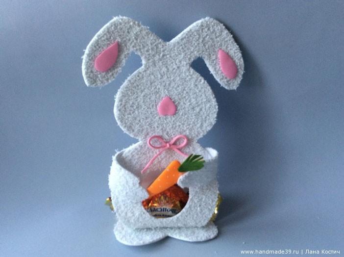 МК Фоамиран: валентинки с конфеткой - зайчик с конфеткой