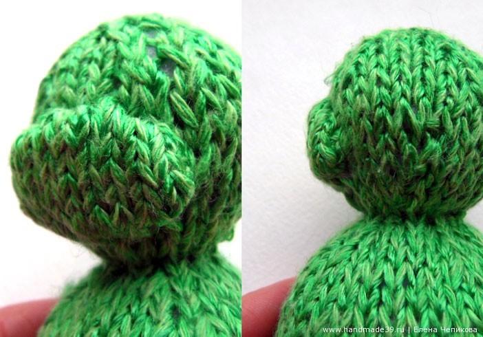Вязаная спицами лягушка - мастер-класс - Рот, пришитый к голове.