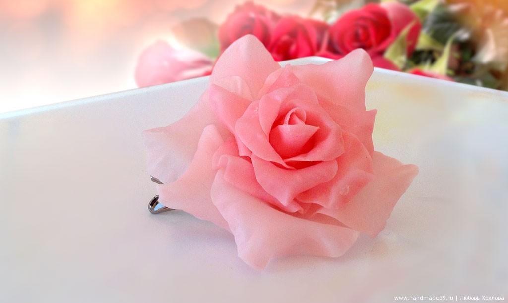 МК «Брошь Роза из полимерной глины»
