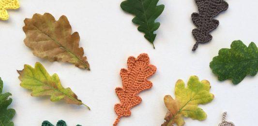 Вязанные крючком дубовые листья