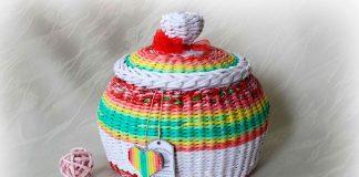 МК Круглая плетёная корзина с крышкой