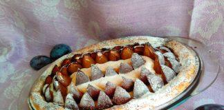 Пирог Улитка со сливами и маком
