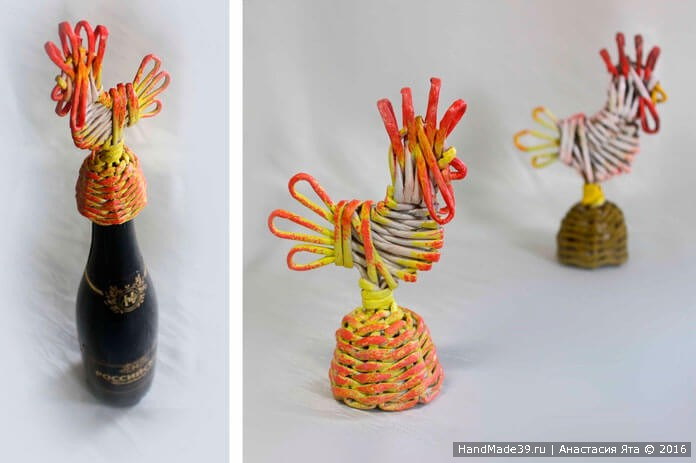 Плетёный Петушок из газетных трубочек – мастер-класс. Подарок к Новому году своими руками
