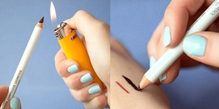 Обычный подводной карандаш можно превратить в стойкий гелевый при помощи простого трюка. Просто подержите остриё несколько секунд над огнём. Карандаш станет более мягким и ярким.