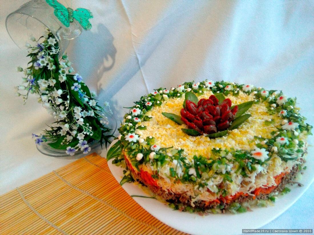 рецепты салатов из печени и грибов