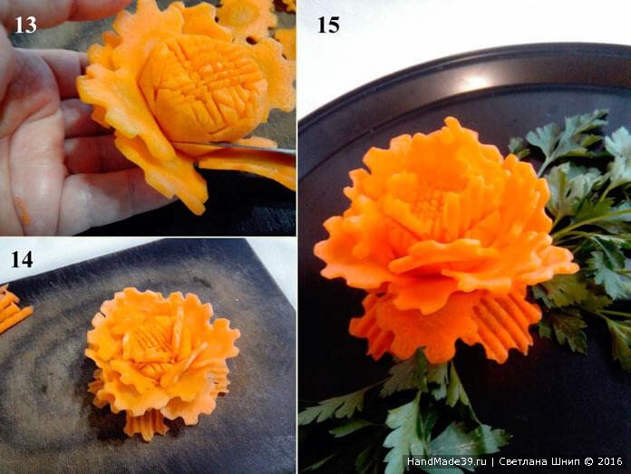 Цветок-фантазия из моркови (этапы вырезания)