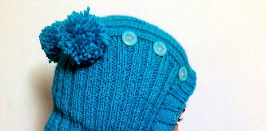 Вязанная спицами детская шапка-шлем, мастер-класс