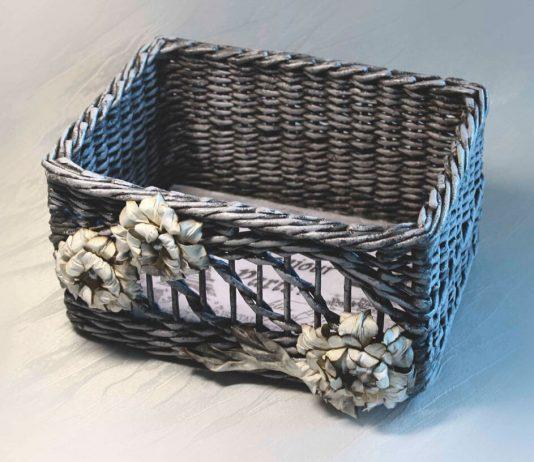 Плетённый винтажный короб из бумажных трубочек – мастер-класс