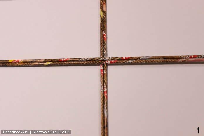 Плетение верёвочкой в две трубочки