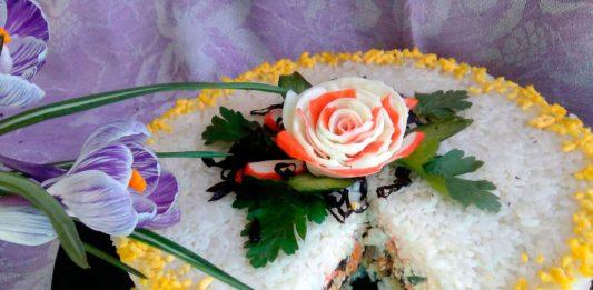 Салат-торт с копчёной скумбрией (японская кухня) – пошаговый рецепт с фото