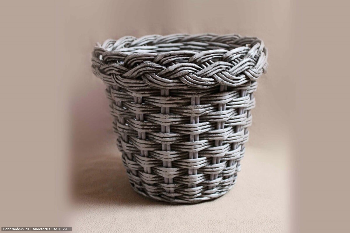 Бумажное плетение для кашпо