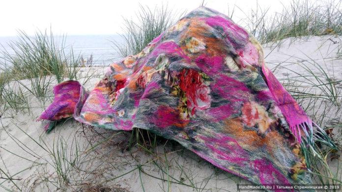 Валяные палантины с вискозой: галерея работ на заказ от Татьяны Стремницкой