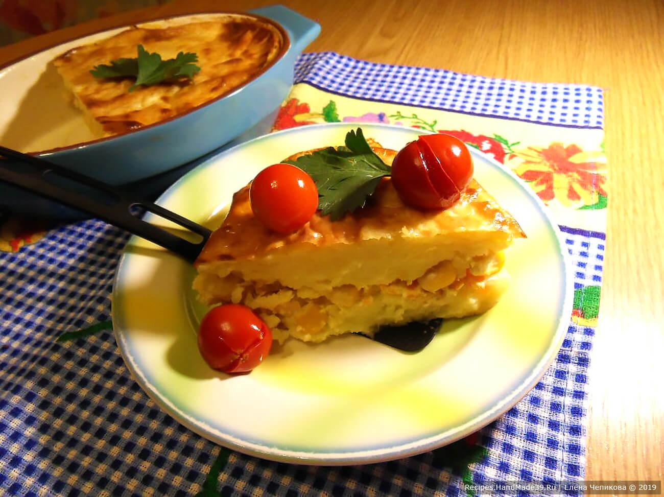 Запеканка из картофеля с кукурузно-овощной начинкой