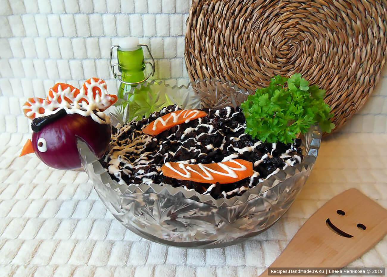 Салат «Чёрная курица» с грибами – пошаговый кулинарный рецепт с фото