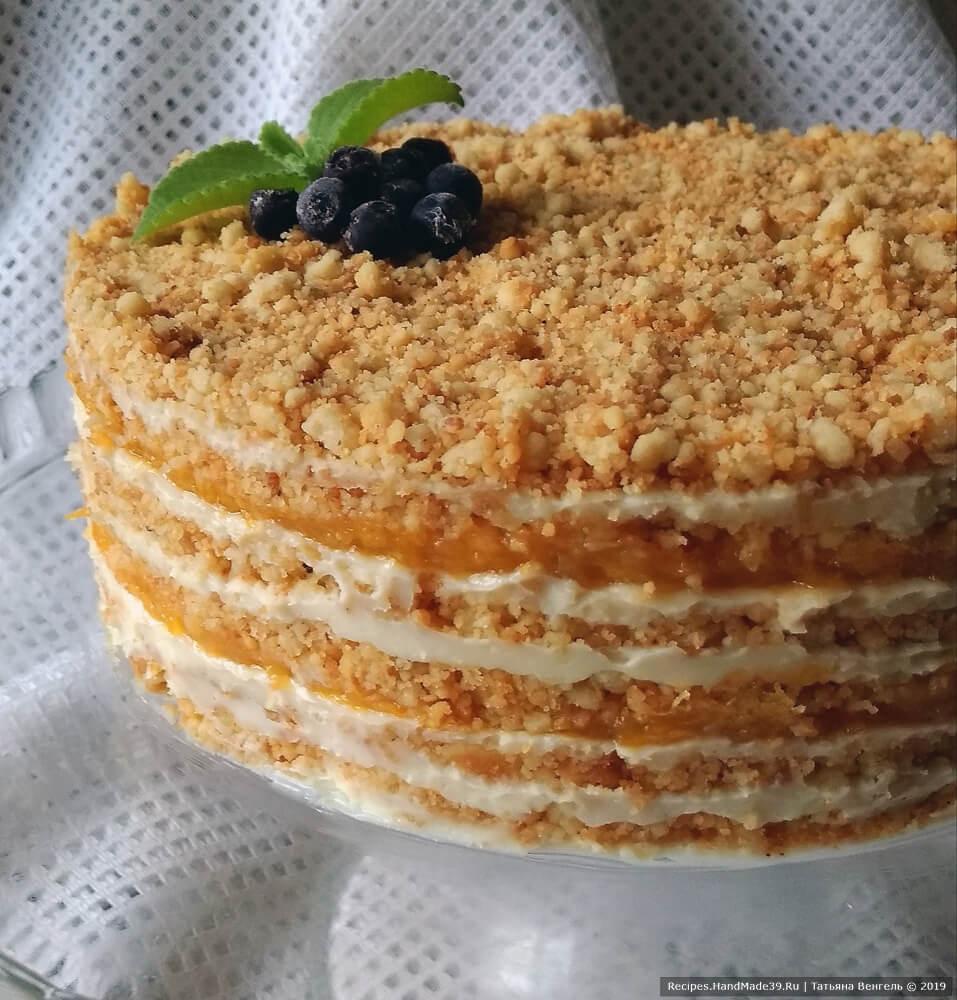 Торт без выпечки с жареной крошкой – пошаговый кулинарный рецепт с фото