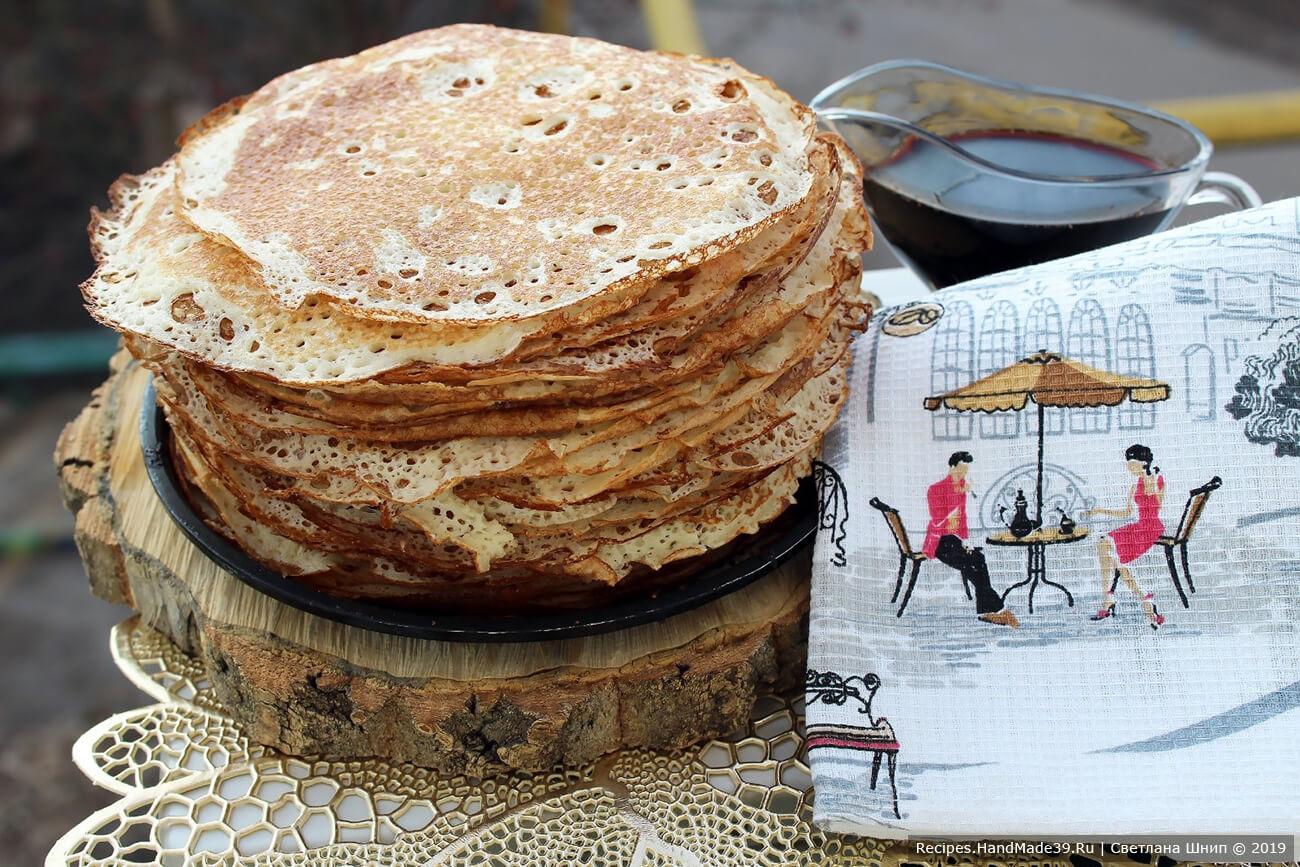 Пышные дрожжевые блины – пошаговый кулинарный рецепт с фото