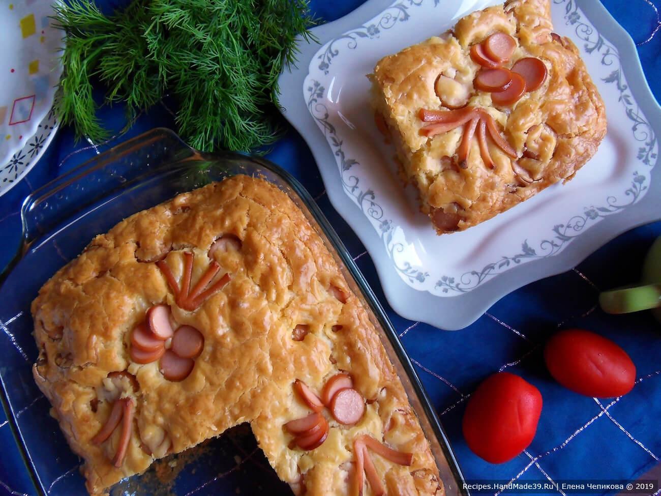 Пирог с сыром и сосисками – пошаговый кулинарный рецепт с фото