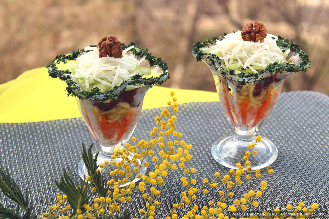 Постный витаминный салат «Для милых дам» с дайконом, сельдереем, морковью, яблоком – пошаговый рецепт с фото