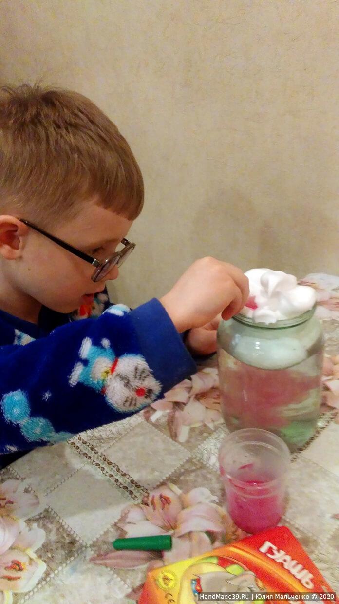Химические опыты для детей. Красочный дождь из облака. Шаг 4