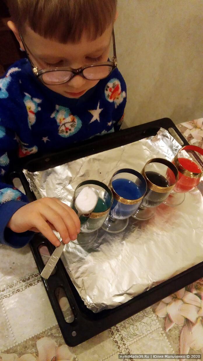 Химические опыты для детей. Вулкан из цветной пены. Шаг 2