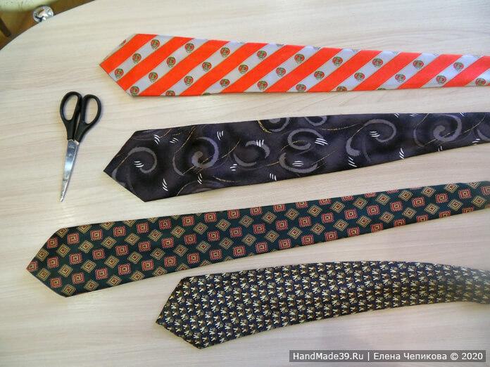 Как сшить украшение на шею из мужского галстука, этап 1