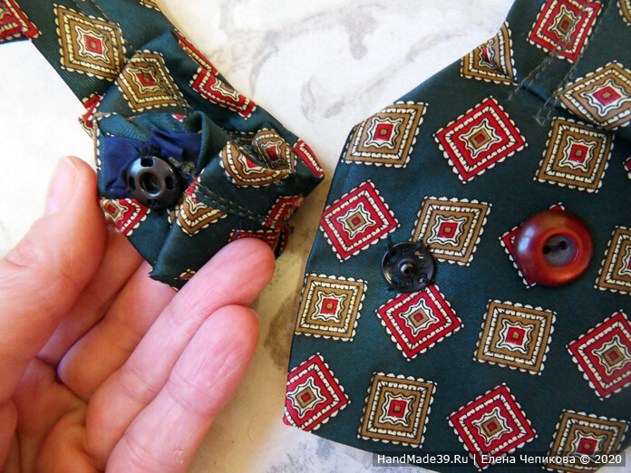 Как сшить украшение на шею из мужского галстука, этап 6