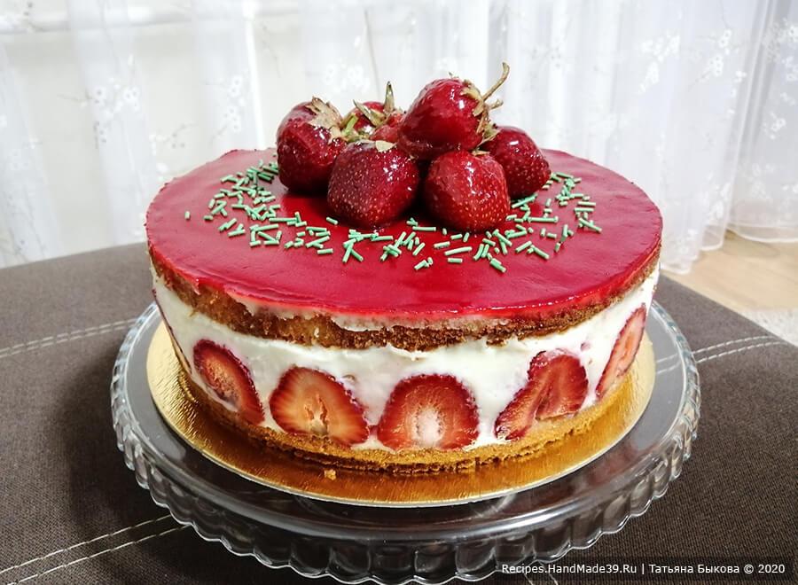 Торт Фрезье с заварным кремом Муслин, клубникой и марципаном – пошаговый рецепт с фото