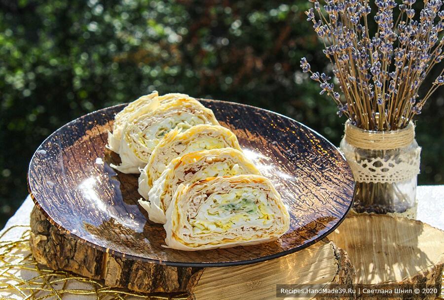 Рулет из лаваша с курицей, яйцом – пошаговый кулинарный рецепт с фото