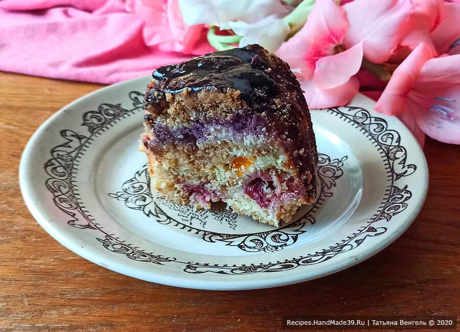 Ленивый творожный пирог с ягодами, фруктами и масляной крошкой – пошаговый рецепт с фото