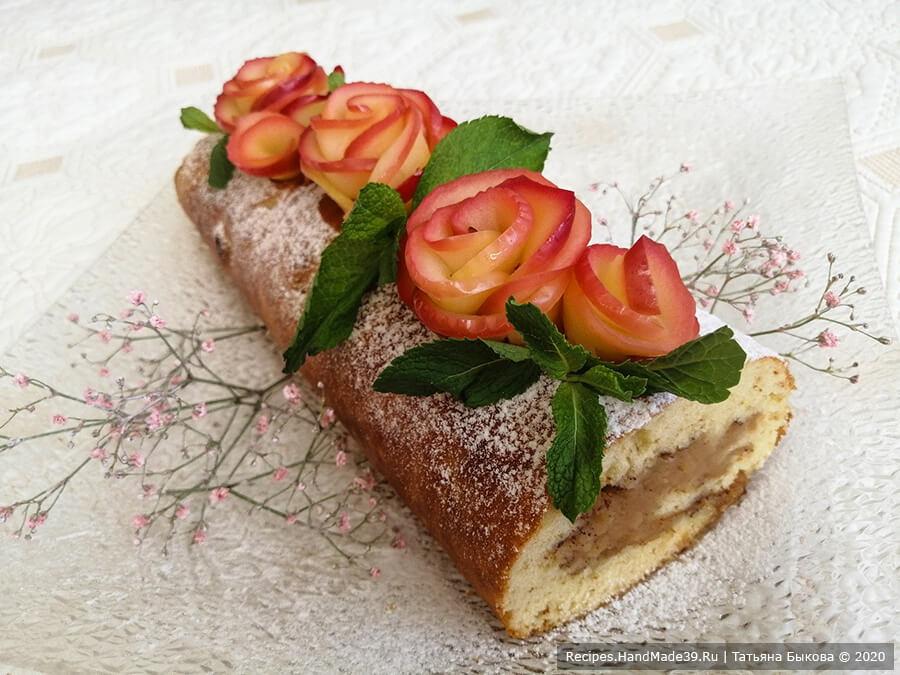 Яблочный рулет на сгущённом молоке – пошаговый рецепт с фото. Как свернуть рулет с яблоками