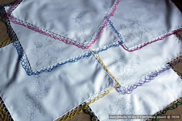 Носовые платки своими руками – шаг 10. В углу платочка наметить карандашом рисунок вышивки. Это можно сделать с помощью копирки