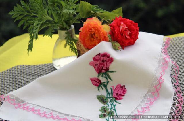 """Носовой платок с вышивкой """"Роза"""""""
