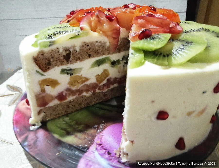 Фруктовый бисквитный торт – пошаговый кулинарный рецепт с фото
