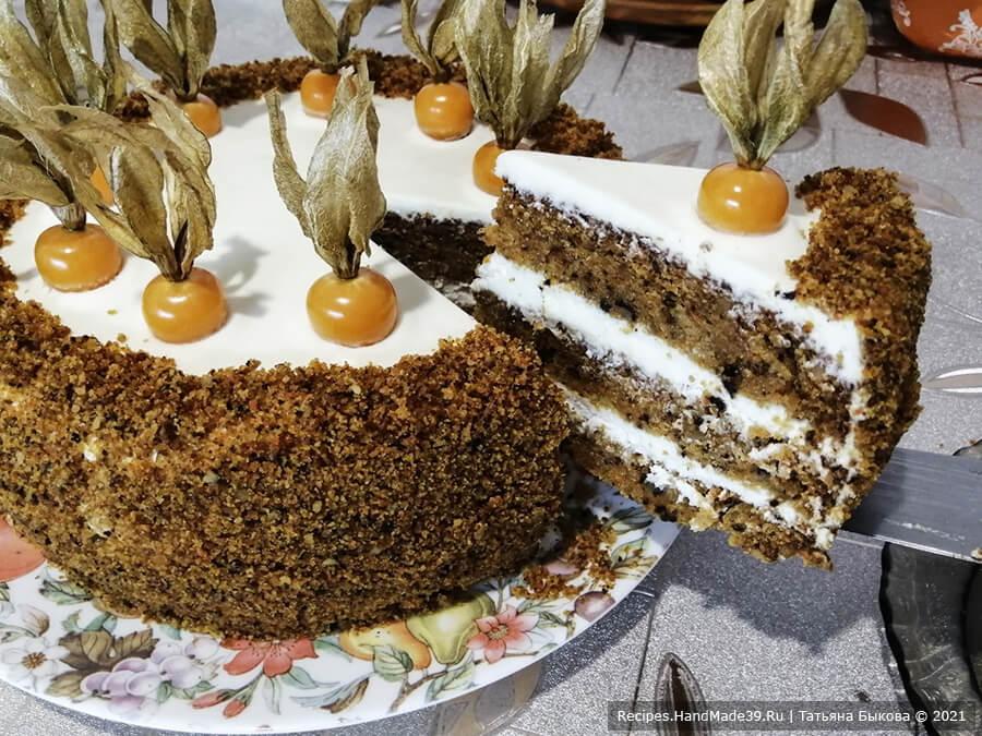 Морковный торт с творожным кремом – пошаговый кулинарный рецепт с фото