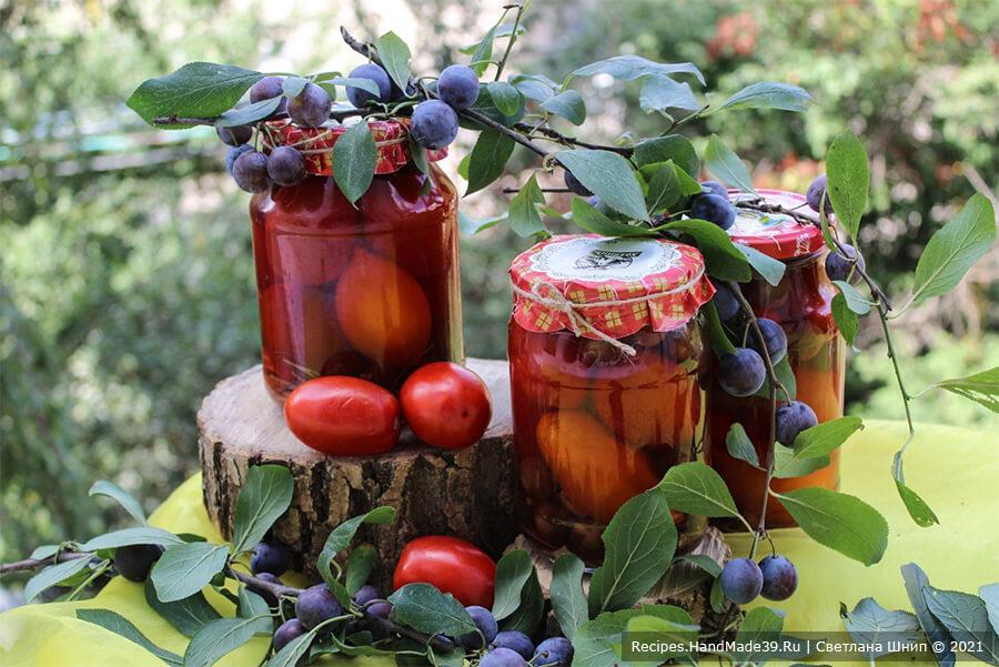 Маринованные помидоры со сливами – пошаговый рецепт с фото